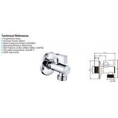 AQUALINE - Rohový kulový ventil 1/2'x3/8', bez matky, s filtrem, chrom 5312