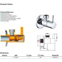 AQUALINE - Rohový ventil 1/2'x3/8', bez matky, kulatý, chrom 5317
