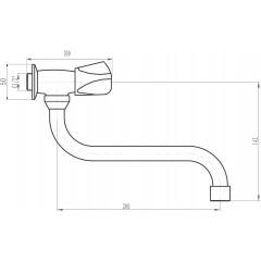 """AQUALINE - Nástěnný ventil 1/2"""", otočná hubice, chrom ZY1812"""