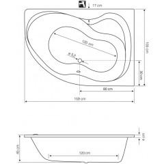 AQUALINE - CIDLINA 160 vana 160x105x45cm bez nožiček, pravá, bílá G3614