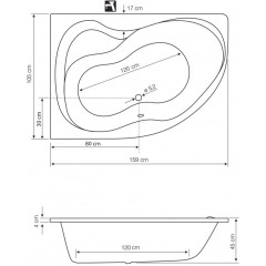 AQUALINE - CIDLINA 160 vana 160x105x45cm bez nožiček, levá, bílá G3615