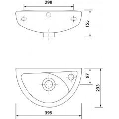 AQUALINE - OVAL keramické umývátko 39x23cm TP040