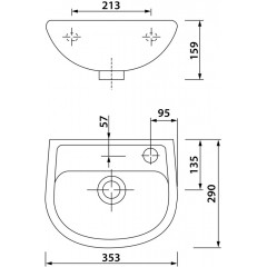 AQUALINE - OVAL keramické umývátko 35x29cm TP135