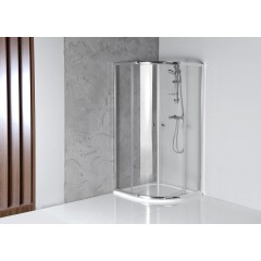 AQUALINE - ARLETA čtvrtkruhová sprchová zástěna 800x800mm, čiré sklo HLS800