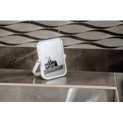 AQUALINE - ELENA kosmetické zrcátko na postavení, bílá CO2022
