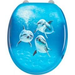 AQUALINE - FUNNY WC sedátko s potiskem delfíni HY-S115