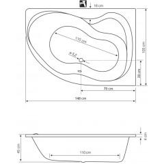 AQUALINE - CIDLINA 150 vana 150x105x45cm bez nožiček, pravá, bílá G3619