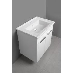 AQUALINE - POLY umyvadlová skříňka 66x74,6x46,5cm, 2xdvířka, bílá PL072