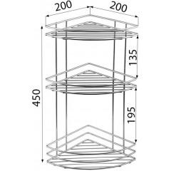 AQUALINE - CHROM LINE drátěná police rohová trojitá, chrom 37015