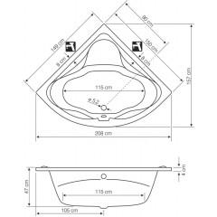 AQUALINE - DUNAJ II rohová vana 150x150x48 cm bez nožiček, bílá G1350