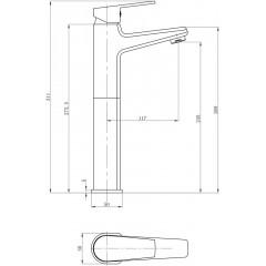 AQUALINE - ARETA 35 stojánková umyvadlová baterie vysoká, bez výpusti, chrom GH659
