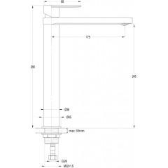AQUALINE - DAPHNE stojánková umyvadlová baterie vysoká, bez výpusti, chrom DH601