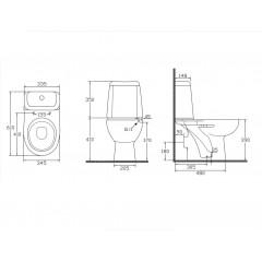 AQUALINE - RIGA WC kombi, dvojtlačítko 3/6l, zadní odpad, bílá RG601