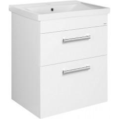 AQUALINE - POLY umyvadlová skříňka 61,5x74,6x43 cm, 2xzásuvka, bílá PL065