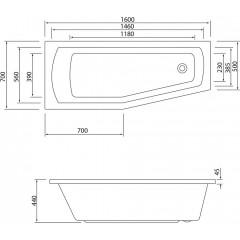 AQUALINE - OPAVA vana 160x70x44cm bez nožiček, levá, bílá C1670