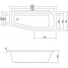 AQUALINE - OPAVA vana 160x70x44cm bez nožiček, pravá, bílá A1671