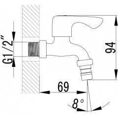 AQUALINE - Nástěnný kulový ventil 1/2´´, krátký, chrom ZY12033