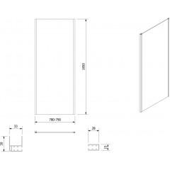 AQUALINE - AMADEO boční stěna 800 mm, sklo BRICK BTP80