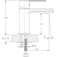 AQUALINE - FACTOR stojánková umyvadlová baterie bez výpusti, chrom FC103