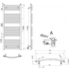 AQUALINE - ORBIT otopné těleso s bočním připojením 600x1322 mm, 722 W, bílá ILO36E