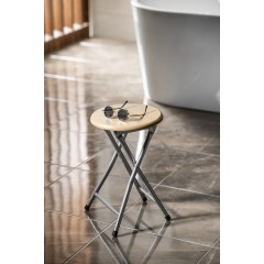AQUALINE - Koupelnová stolička, průměr 29,8x46 cm, dekor dřevo CO73