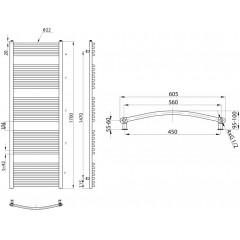 AQUALINE - ORBIT otopné těleso s bočním připojením 600x1700 mm, 909 W, stříbrná strukurální ILA66E