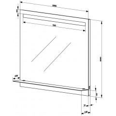 AQUALINE - LED podsvícené zrcadlo 100x80cm, skleněná polička, kolíbkový vypínač ATH55