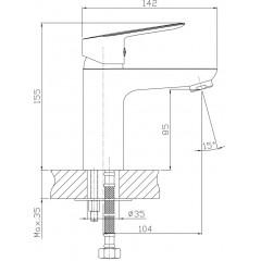 AQUALINE - LOTTA umyvadlová páková baterie, černá LT602B