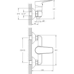 AQUALINE - LOTTA nástěnná sprchová baterie, rozteč 150mm, černá LT611B