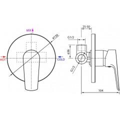 AQUALINE - LOTTA podomítková sprchová baterie, 1 výstup, černá LT741B