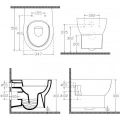 AQUALINE - ABSOLUTE závěsná WC mísa, Rimless, 50x35 cm, bílá 10AB02002