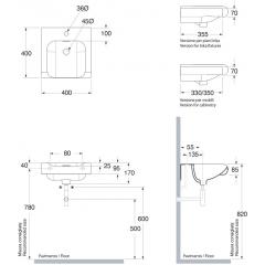 KERASAN - INKA keramické umyvadlo 40x40cm, černá mat 341231