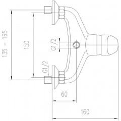 AQUALINE - KASIOPEA nástěnná sprchová baterie, chrom 1107-11