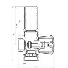 AQUALINE - Pračkový ventil před nástěnou baterii se zpět. ventilem 3/4'x3/4', chrom 5315