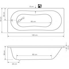AQUALINE - JIZERA vana 120x70x39cm, bez nožiček, bílá G1270