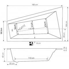 AQUALINE - METUJE vana 160x100x42cm bez nožiček, levá, bílá G2610