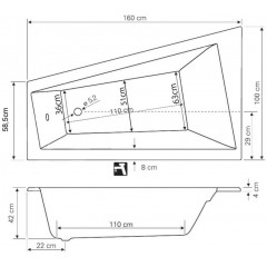 AQUALINE - METUJE vana 160x100x42cm, bez nožiček, pravá, bílá G2611