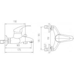 AQUALINE - KASIOPEA nástěnná vanová baterie, chrom 1107-10