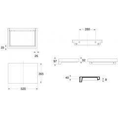 KERASAN - INKA odkladná keramická deska 52x35,5cm, černá lesk 341804