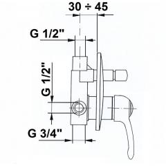 SAPHO - VANITY podomítková sprchová baterie, 2 výstupy, bronz 77856