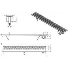 AQUALINE - KROKUS nerezový sprchový kanálek s roštem, 860x140x92 mm 2705-90