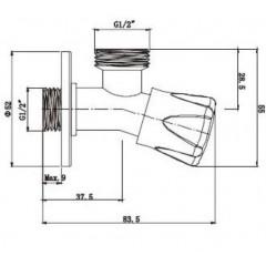 AQUALINE - Pračkový ventil se zpětnou klapkou 1/2'x3/4', chrom 5313