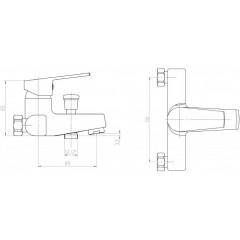 AQUALINE - ARETA 35 nástěnná vanová baterie, chrom GH126