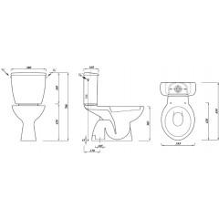 AQUALINE - MIGUEL WC kombi, dvojtlačítko 3/6l, spodní odpad, bílá LC2258