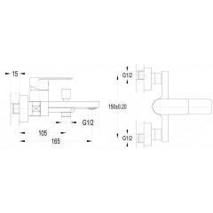 AQUALINE - DAPHNE nástěnná vanová baterie, chrom DH101