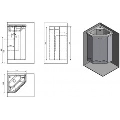 AQUALINE - ZOJA umyvadlová skříňka rohová 39x74x39 cm, bílá 50343