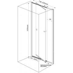 AQUALINE - AMICO sprchové dveře výklopné 740-820x1850 mm, čiré sklo G70