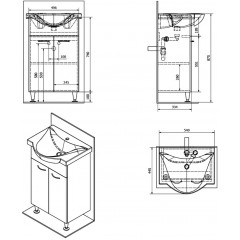AQUALINE - KERAMIA FRESH umyvadlová skříňka 51,1x74x34cm,dub platin 50058