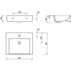 AQUALINE - MODIS keramické umyvadlo 55x45cm, bílá FS9A1