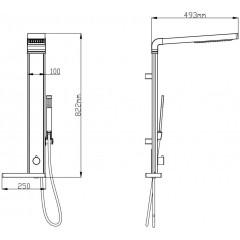 AQUALINE - ROME sprchový sloup k napojení na baterii, výška 822mm, hliník SL760